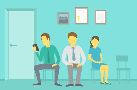 hospital dibujo animado: La gente sentada en sillas y esperando en la entrevista cola Vectores