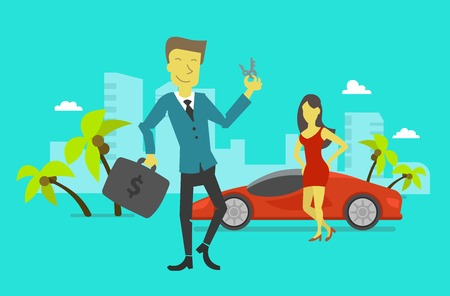 expensive car: Businessman attained success. Beautiful girl and expensive car Illustration