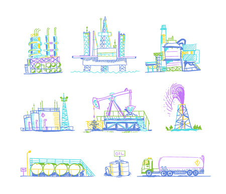 industrial industry: Production and storage of oil transportation set of color images
