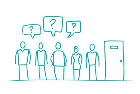 With question people waiting in queue interview turn the door Illustration