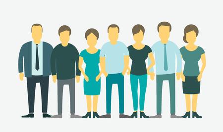 fila de personas: Grupo empresarial establecido. El personal de la empresa. Gente en línea