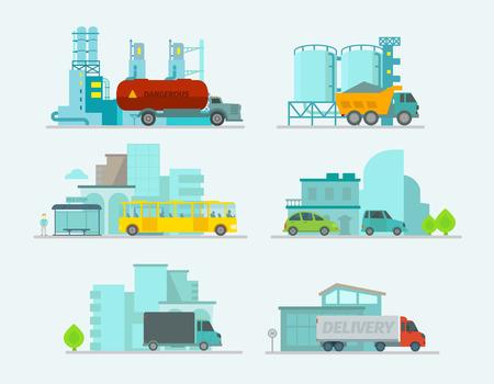 Transport-Reihe. Auto in der Stadt. Trucks beenden Bus, Personenkraftwagen. Vektor-Illustration Standard-Bild - 45529543