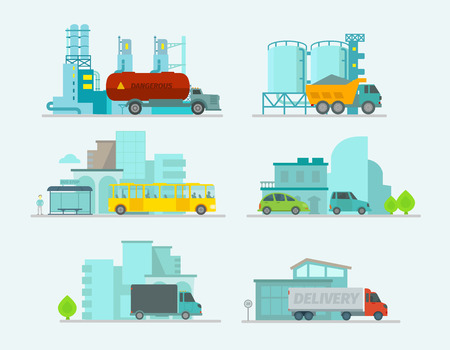 car factory: Transportation set. Car in town. Trucks end bus, passenger cars. Vector illustration
