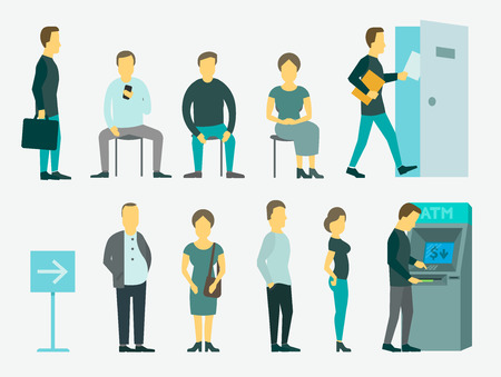 Set with people vector illustration ATM, queue turn the door