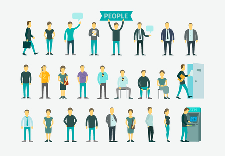 fila de personas: Set con 26 personas diferentes concepción plana ilustración vectorial ATM, cola gire la puerta