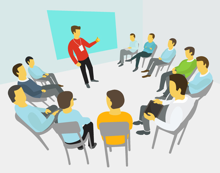 discussion: Group of business people having a meeting around conference  collaboration and discussion   process conference  presentation Illustration