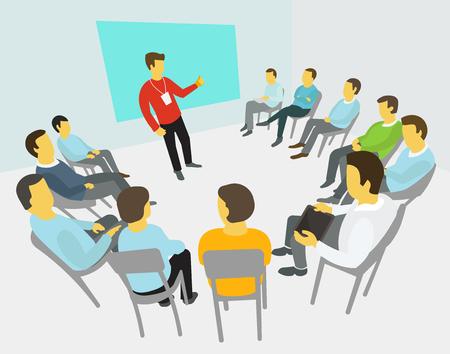 Grupo de hombres de negocios que tienen una reunión en torno a la conferencia / colaboración y discusión / conferencias / proceso de presentación
