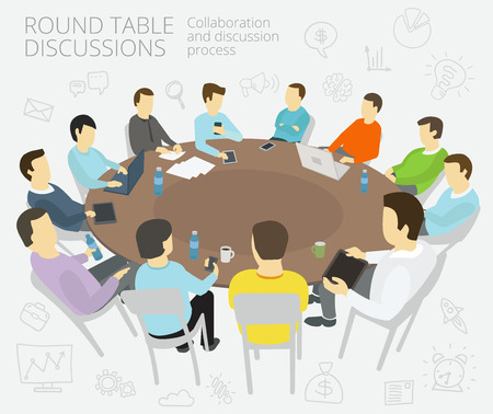 work environment: Group of business people having a meeting round-table talks conference collaboration and discussion process conference presentation