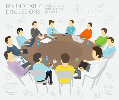 reunion de trabajo: Grupo de hombres de negocios que tienen una presentación de la conferencia la colaboración reunión de la conferencia conversaciones de mesa redonda y proceso de discusión Vectores