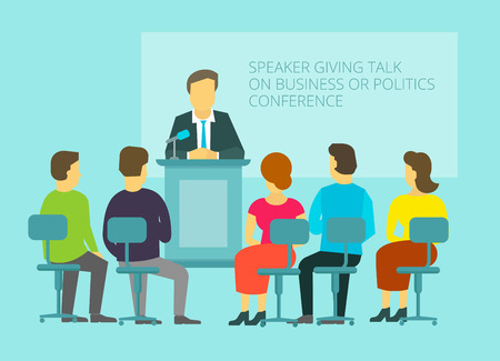 Business or policies message, giving speech, leadership on the podium the audience, lecture