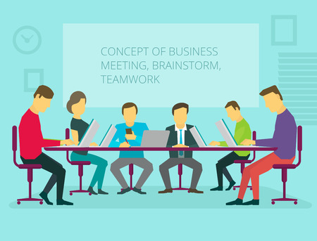 sitting at table: People team sitting and working together at the table. Teamwork, brainstorming, startup. Flat vector illustration. Conference hall general activity Illustration