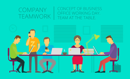 colleagues: People team sitting and working together at the table. Teamwork, Flat vector illustration. Office general activity