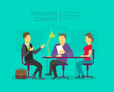 Man te geven, een interview te kennen. Talkshow. Persoonlijke interviewer Drie mensen aan de tafel. Stock Illustratie