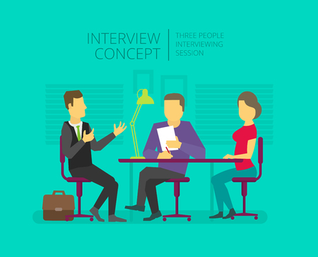applicant: Man to give, grant an interview. Chat show. Personal interviewer Three people at the table.