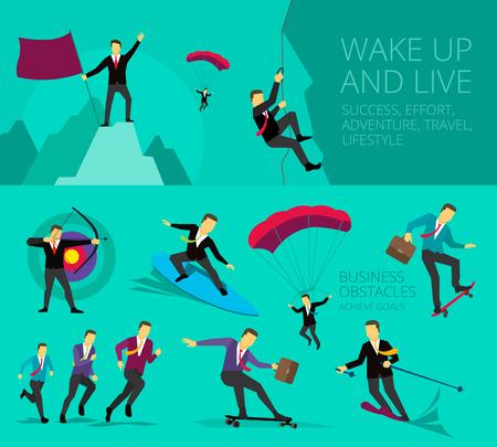 путешествие: Бизнесмен успешная деятельность жизнь приключение преодоления трудностей. Запустить. Символическое изображение работы путешествии