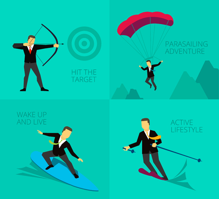 overcoming: Businessman adventure activities overcoming difficulties. Symbolic image of work journey. Shoot a bow.