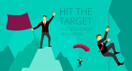 proposito: Actividades de aventura Empresario superar las dificultades. Imagen simbólica de la jornada de trabajo. Escalador alpinista sube a la montaña