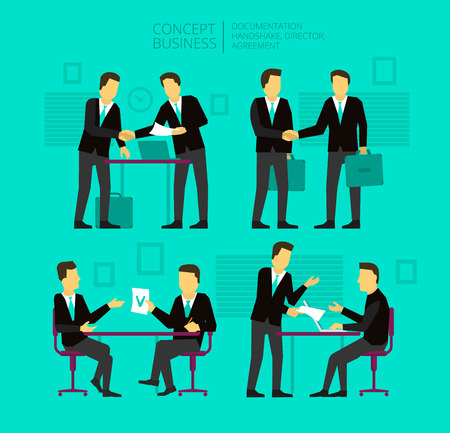 Two businessman negotiate and sign a paper. Shake hands, greeted by, agree. The concept of business situations