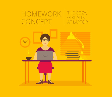 cozy: Woman home at the laptop. homework In the cozy yellow room Illustration