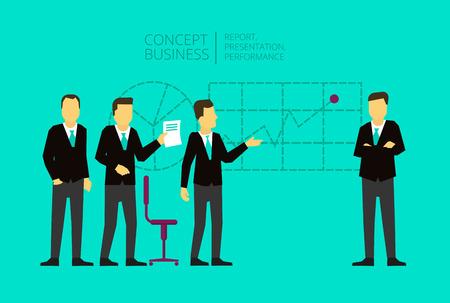 affairs: Business meeting and presentation of the project. Presentation affairs. The situation on the market. Economy Illustration