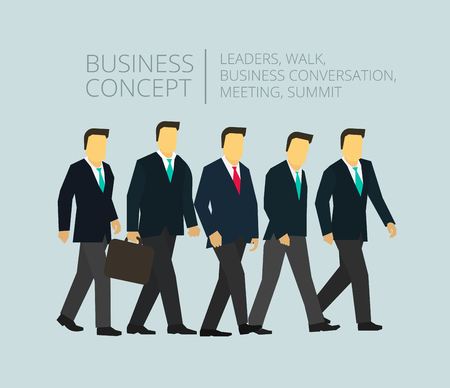 global finance: Business people group team walking. Man with briefcase. Executives managers and directors. Illustration