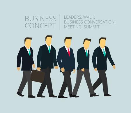 caminando: La gente de negocios del equipo del grupo para caminar. Hombre con la cartera. gerentes ejecutivos y directores.