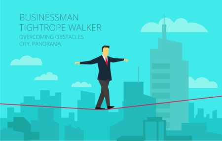 feat: Brave businessman walking tightrope against the background of the panorama city. Symbolic crisis picture. Illustration