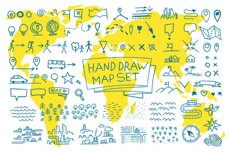 cartoon earth: Hand draw map set elements. Vector picture outline
