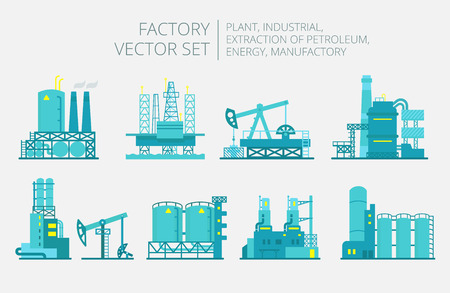 production of energy: Extraction petroleum. Vector set of factory illustration oil production.  Building industry.