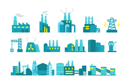 Extraction petroleum. Vector set of factory illustration oil production.  Building industry.