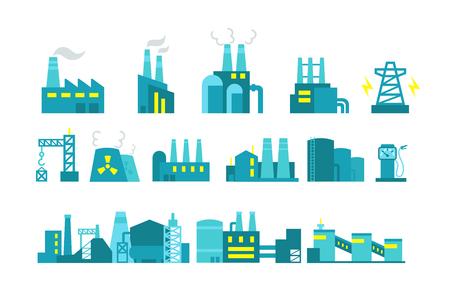 Extraction Erdöl. Vektor-Satz von Fabrikabbildung Ölproduktion. Bauindustrie.