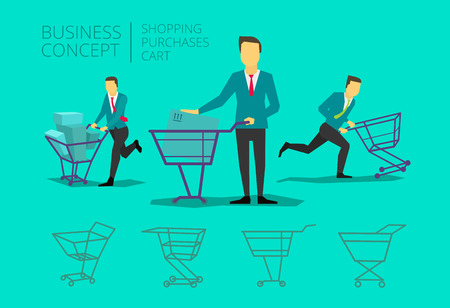 purchase: Man businessman suit and tie with basket shopping runs purchase Illustration