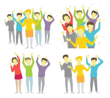free illustration: Happy people joyful group celebrate victory and success