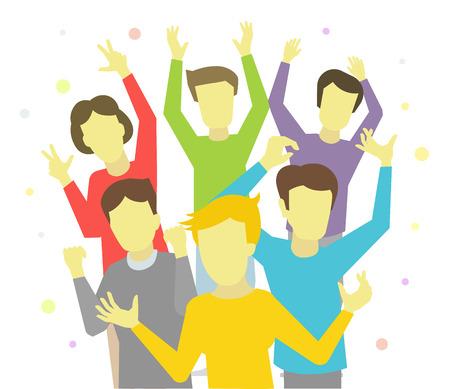 Gruppo felice della gente gioiosa celebrare la vittoria e il successo