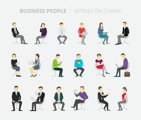 persone diverse e pose colleghi seduta di lavoro Vettoriali