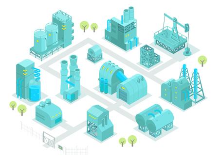 Set costruzioni isometriche fabbrica di olio illustrazione industria di produzione