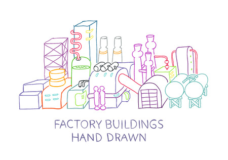 illustration industry: Factory buildings hand drawn sketched illustration production industry