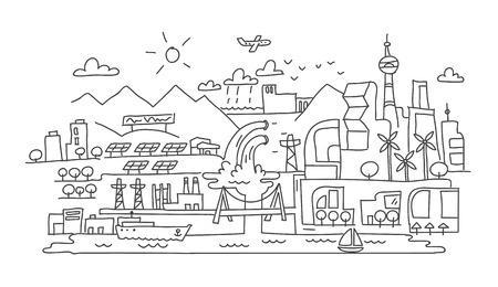 dibujo a mano, ciudad futurista arquitectura scetch