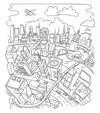 futuristic city: Hand drawing, futuristic city architecture scetch Illustration