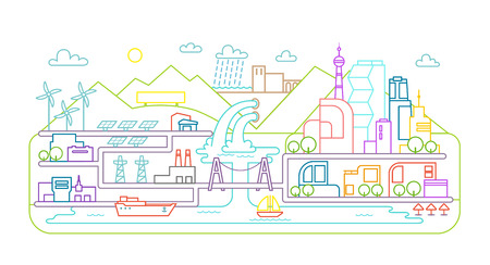 eco energy: Flat style. Landscape city. Terrain river, bridge and lake. Solar energy. Hydroelectric power station. Illustration