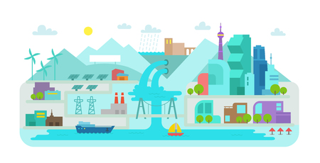 hydroelectric energy: Flat style. Landscape city. Terrain river, bridge and lake. Solar energy. Hydroelectric power station. Illustration