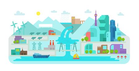 Flat style. Landscape city. Terrain river, bridge and lake. Solar energy. Hydroelectric power station. Vettoriali