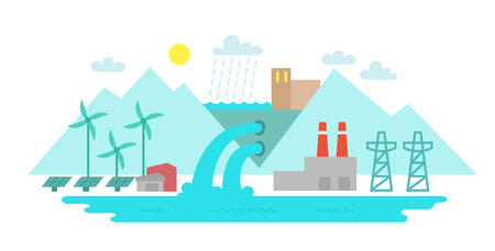 hydroelectric: Landscape city. Terrain river and lake. Solar energy. Hydroelectric power station. The blue tones flat style.