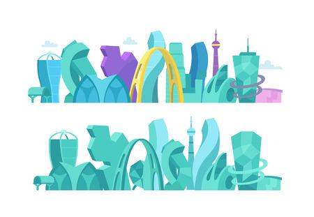 Ciudad del futuro. Un no-estándar paisaje inusual arquitectura fantástica de la ciudad