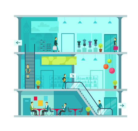 shopping center interior: Supermarket, store and clothing shop with people shopping and buying products. Elevator and escalator. Illustration