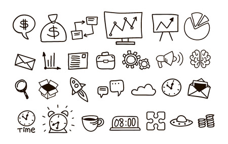 contour: Set of icons for business contour vector