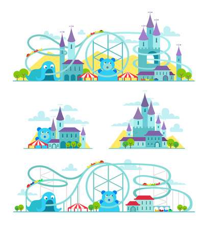roller: Magic castle roller coaster amusement park illustration