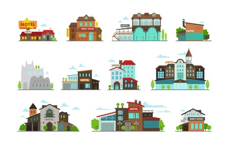 guest house: Hotel guest house hostel set of different buildings illustration