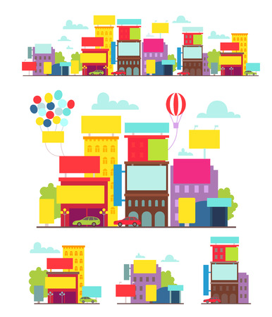 broadsheet: Bright street with posters billboards and different advertising illustration holiday