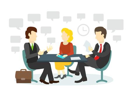 Tres personas en la mesa de entrevista de trabajo para los personajes llevan a cabo las negociaciones. Ilustración para el sitio web de la revista de prensa y la industria de impresión. Ilustración de vector